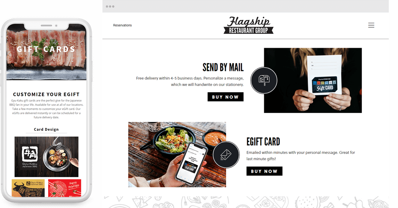 Gift Card Examples on Mobile and Desktop